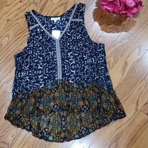 Patrons of Peace Boho High Low Tank Top NWT